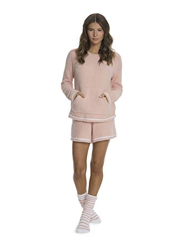 Barefoot Dreams CozyChic 3-Piece Lounge Set for Women, Fuzzy Socks, Shorts, Long-Sleeved Top Peach