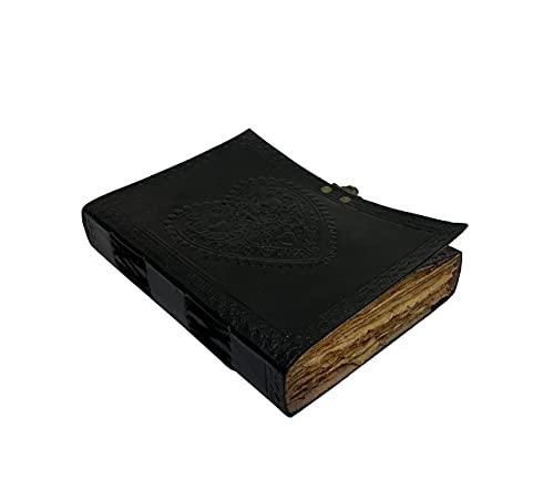 Großes Vintage-Notizbuch mit geprägtem Herz aus schwarzem Papier und Leder, für Instagram-Fotoalbum