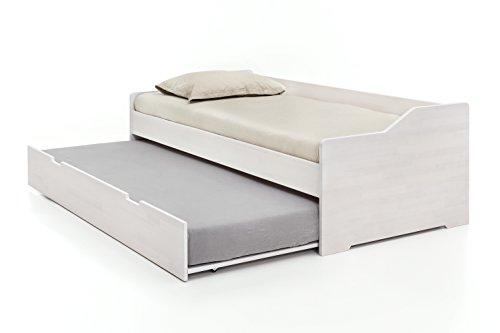 Woodlive Massivholz-Gästebett aus Kernbuche weiß, ausziehbares Doppel-Bett, als Jugend- & Kinderbett verwendbar, Funktionsbett aus Holz, Bett 90 x 200 cm