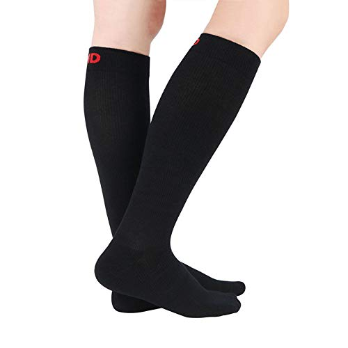 +MD 3 Pairs Bamboo Compression Socks 8-15mmHg for Women & Men Moisture Wicking Support Stockings for Airplane Flights, Travel, Nurses, Edema 10-13 Black