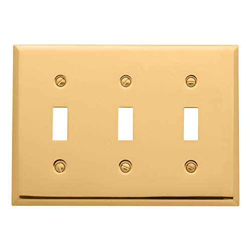 Baldwin Estate 4770.030.CD Square Beveled Edge Triple Toggle Switch Wall Plate in Polished Brass, 4.5'x6.5'