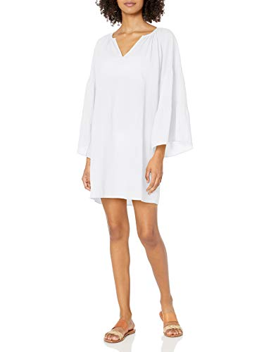 Seafolly Women's Tiered Sleeve Swimsuit Cover Up Tunic, Beach Edit White, Large
