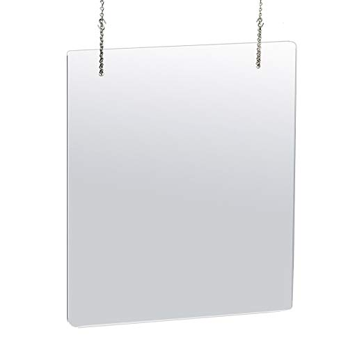 Azar Displays 179966-100 30 in. X 40 in. Clear Hanging Adjustable Cashier Shield, Plexiglass, Sneeze Guard, Acrylic Protective Barrier -Vertical/Horizontal (pack of 2)