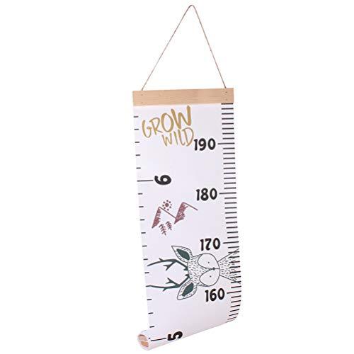 Toyandona Messlatte für Babys, Lineal, Wandaufhängung, Wachstumsdiagramm, Lineal, Raumdekoration für Kinder, Kleinkinder, Mädchen, Jungen, 200 x 21 x 0.5cm reh/hirsch