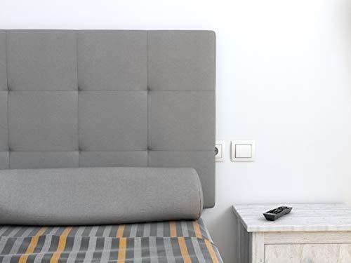 LA WEB DEL COLCHON - Cabecero tapizado Celio para Cama de 200 (210 x 70 cms) Gris Claro Textil Suave
