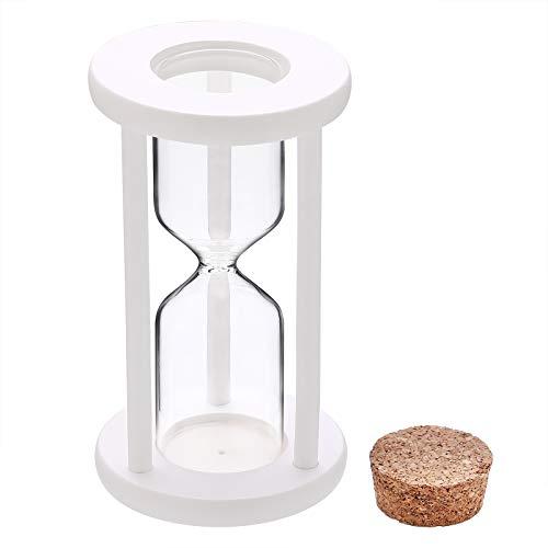 Empty Hourglass Sand Clock Timer Set, White Frame Wooden Plug Sand Watch, Reloj De Arena, Large Hour Glass Sandglass Diy Fillable Unity Sand Ceremony Kit for Wedding Home, Office, Desk Decor