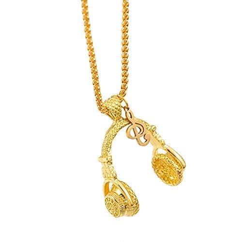 Collar de auriculares inalámbrico para mujeres y hombres, cadena de acero inoxidable chapada en oro plateado con colgante de nota