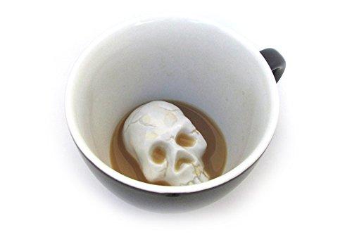 Ceature Cups Schädel-Keramiktasse (325 Milliliter, Schwarz) | Auf der Innenseite versteckte Tiermotive | Weihnachts- und Geburtstagsgeschenk für Kaffee- und Teeliebhaber