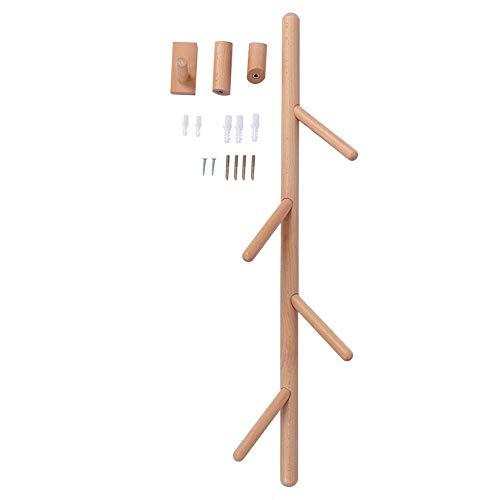 Zoternen Árbol Perchero de Pared de Madera Maciza 85 cm Perchero Pared de 4 Ganchos con 3 Colgantes para Colgar en el Salón o el Dormitorio