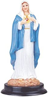 Sacred Heart of Mary Statue Figurine with Wood Base and a Free Blessed By Pope Francis Prayer Card