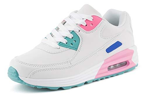 Fusskleidung Unisex Damen Herren Sportschuhe Übergrößen Laufschuhe Turnschuhe Neon Sneaker Schuhe EU Weiß Pink Blau 41