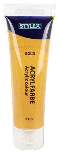 Stylex 28638 - Acrylfarbe auf Wasserbasis, 83 ml Tube in gold, matt, hohe Deck- und Farbkraft, lichtbeständig, schnelltrocknend und wasserfest