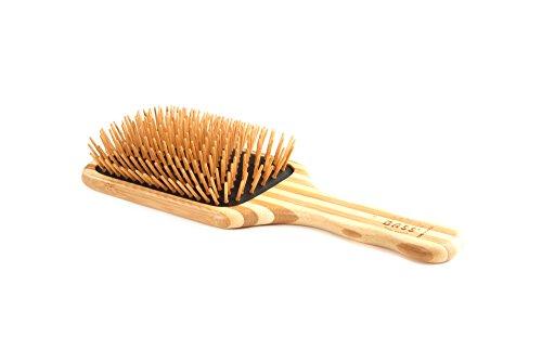 Bass Brushes | The Green Brush | Bamboo Pin + Bamboo Handle Hair Brush | Large Paddle
