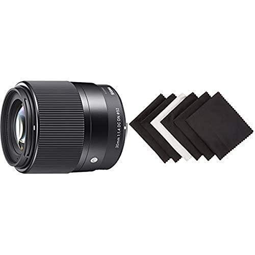 Sigma 30mm F1,4 DC DN Contemporary Objektiv (52mm Filtergewinde) für Sony-E Objektivbajonett Amazon Basics - Mikrofaser-Reinigungstuch für elektronische Geräte, 6er-Pack
