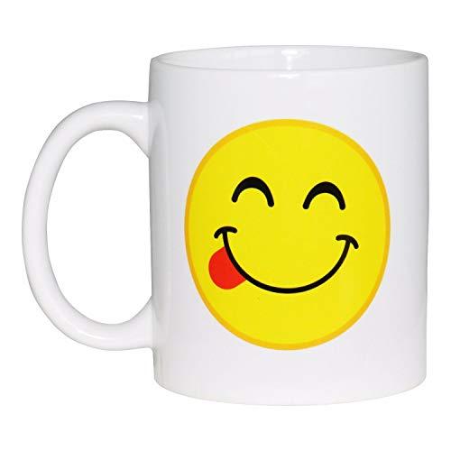 Framan Taza Emoticono saboreando Comida. Taza del Emoticono Cara Sonriendo con Lengua Fuera (Delicioso)