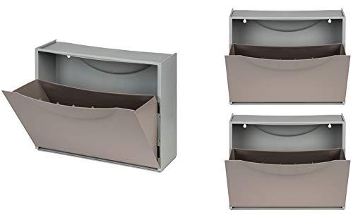 Kreher XL Schuhschrank aus Kunststoff in Taupe (Grau Braun). Drei Schuhkipper für insgesamt ca. 9 Paar Schuhe. Erweiterbar, abwaschbar, robust, multifunktional.