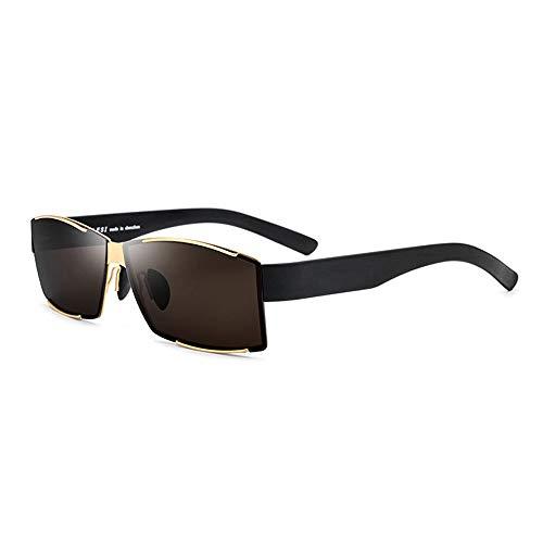 QCSMegy Gafas de Sol Gafas De Sol Ultraligeras for Hombre TR90 Gafas De Sol Polarizadas Gafas De Sol Cuadradas con Borde Dorado Protección UV400 Marrón