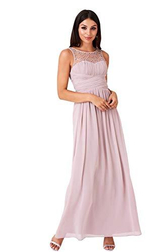 Little Mistress Damen Kleid Neck Embellished Dress, Braun (Mink 001), 34 (Herstellergröße: 6)