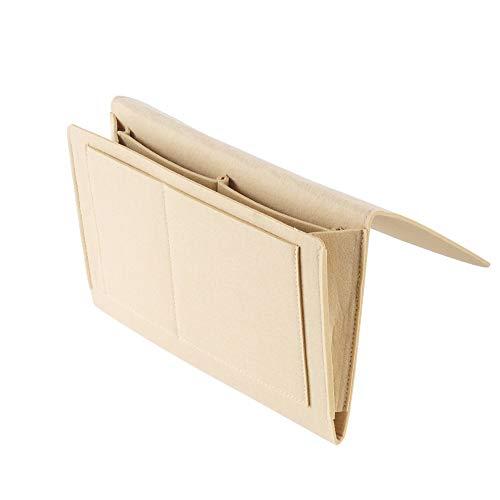 YQ WHJB Dick Betttasche,fühlte Organizer Tasche Für Bett Sofa,Platz Sparend Hängen Holder Tasche Mit 5 Taschen Für Remote Telefone Tabletten-beige 32x21cm(13x8inch)