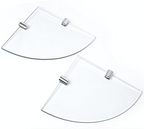 Juego de 2 estantes de esquina de cristal templado de 150mm aprox y 6 mm de grosor con acabado cromado y soporte para estantería