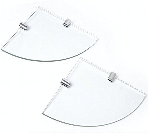 Set 2 mensole angolari in vetro temperato 150 mm x 6 mm con supporti, per il bagno, la camera da letto, l'ufficio, con finitura cromata, mensole e ripiani