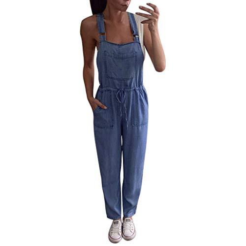 bobo4818 Damen Anzug EIN Stück Overalls Overall Denim Jeans Lange Hosen Latzhose Overall Long Jumpsuit Playsuit Romper Suit (L, Blue)