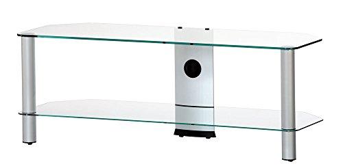 RO&CO Meuble TV Largeur : 130 cm. 2 étagères. Verre transparent/châssis de couleur grise. Réf.M-1302 TG