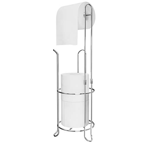 Ulable Toilet Paper Holder Toilet Roll Stand Free Standing for Bathroom, Holds 4 Paper Rolls 23.23 x 6.29 in (Silver)