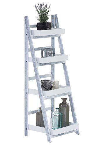 Estantería Escalera Dorin con 4 Estantes I Estantería Plegable en Estilo Rústico I Estantería Decorativa de Madera I Color:, Color:Blanco/Gris