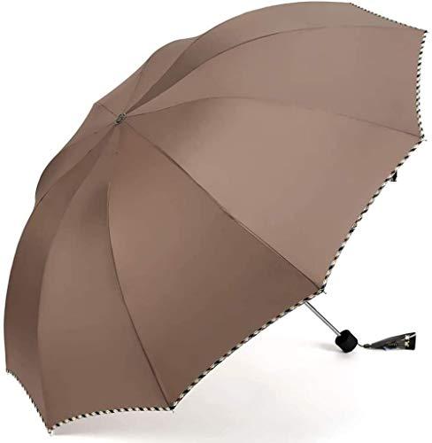 ZJJJD Regenschirm Übergroße Männliche Und Weibliche Doppelschüler Dreifach Faltbare Vergrößerung Doppelfunktion Sonnenschutz Uv Sonnenschutz Braun Regenschirm Sturmsicher Lightweight Wunderschönen