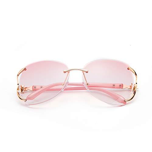 Diamantverkrustete Sonnenbrille Mode Mode Sonnenbrille randlose Lauf Sport Sonnenbrille 143 * 136mm Rosa