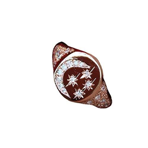 minjiSF Anillo con diseño de estrella y luna con diamantes para mujer, anillo de compromiso, aniversario, regalo (multicolor, 9)