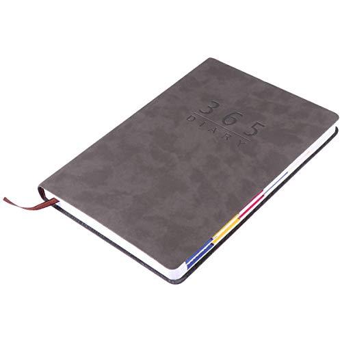 Hakka Agenda A5 2021-2022 de piel sintética con calendario, cuaderno de notas para estudiantes, papelería para oficina, suministros escolares, color gris