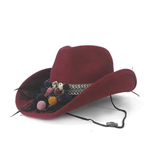 LQ-BNM Panamahut - doorbroken dames-wollen hoed, Western-cowboyhoed, hooggerolde dames-veerhoed met brede zijband