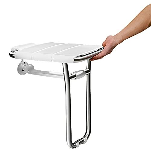 Duschstuhl für Senioren, Duschhocker Klappbar Badhocker Wandmontage Rutschfest Duschsitz Badstuhl mit Rutschfesten Füßen für Behindert Badhilfe, Platz Sparen/Einfach zu Säubern, Belastung: 300kg