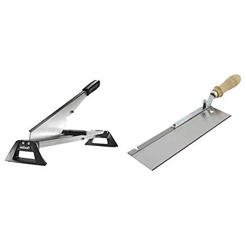 Wolfcraft 6937000 Guillotina para corte de laminados plata & 6925000 - Sierra de mano con mango acodado y orientable. 9 x 39 x 4,5 cm, especial montaje suelo