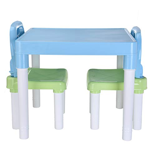 B/A Activity Table Sets with 2 Chair Bearing-Weight 220.4 Plastic 20x20x17.31 Light Blue US in Stock Sanycool
