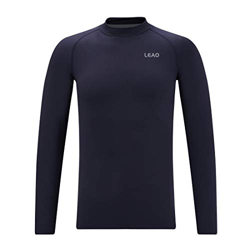 LEAO Youth Boys' Compression Thermal Shirt Long Sleeve Fleece Baselayers Sports Undershirts Mock Top Navy XS