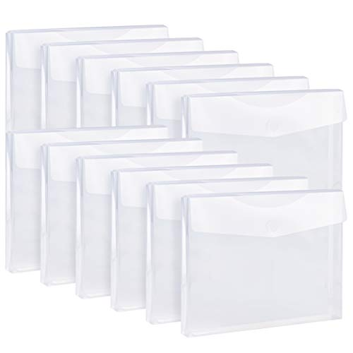"""FANWU 12 Pack Clear Plastic Envelopes Reusable Expandable Poly Envelopes with Hook & Loop Closure - 1-1/6"""" Expansion - Letter A4 Size Document File Envelopes folders for School Home Office"""