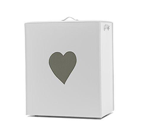 Adele: Panier à Linge en Cuir Couleur Blanc, avec Un Coeur Tourterelle, avec Sac à Linge Amovible, Rangement et Organisation Made in Italy by Limac Design®
