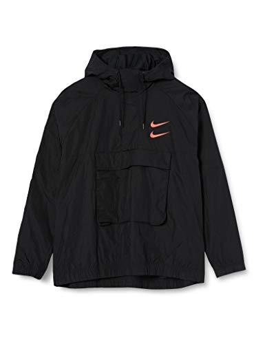 Nike M NSW Swoosh Jkt Wvn, Giacca Sportiva Uomo, Black/Black/Black/(Ember Glow), M