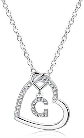 Silver Initial Heart Necklaces for Girls CZ Heart Pendant Initial G Necklaces for Teen Girls product image
