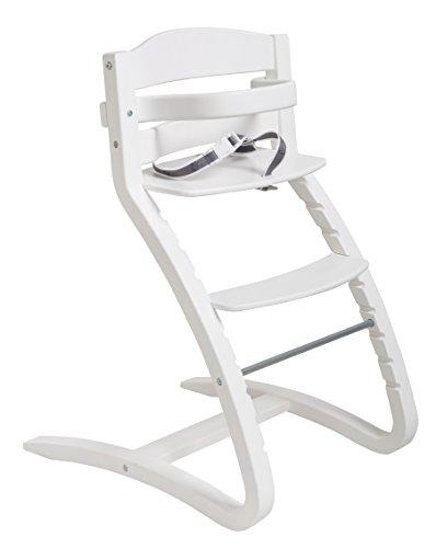 roba Wysokie krzesełko schodowe Grow Up, designerskie wysokie krzesełko dziecięce, rosnące wraz z dzieckiem aż po krzesło młodzieżowe, drewno, białe