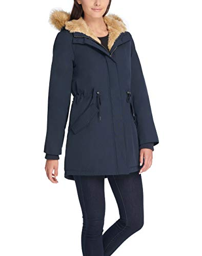 Levi's Women's Faux Fur Lined Hooded Parka Jacket (Standard and Plus Size), navy, Small