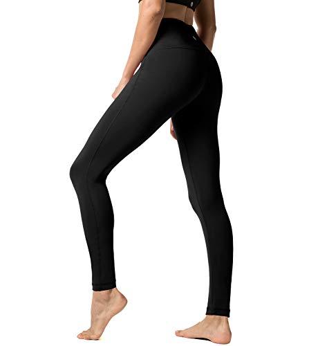LAPASA Pantalón Deportivo de Mujer, Malla para Running, Yoga y Ejercicio. L01 (1.Space Black, XL/44 (Cintura 82-92, Pernera 67.5 cm))