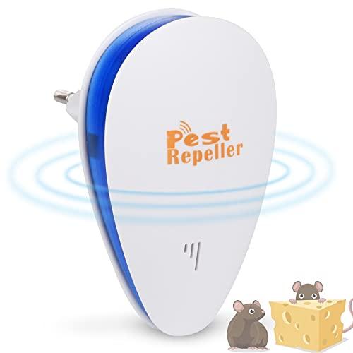 FGen Repelente Ultrasónico, Ahuyentador Cucarachas, Repelente Hormigas, Ahuyentador Electrónico Ultrasónico Seguro para Mosquitos Ratones, Insectos y Roedores (Azul)