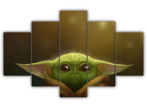 GSDFSD Cuadros Decoracion Dormitorios 5 Piezas 150x80cm - Cuadro sobre Lienzo - Impresión En Lienzo Montado sobre Marco De Madera - Película de Star Wars Yoda Species