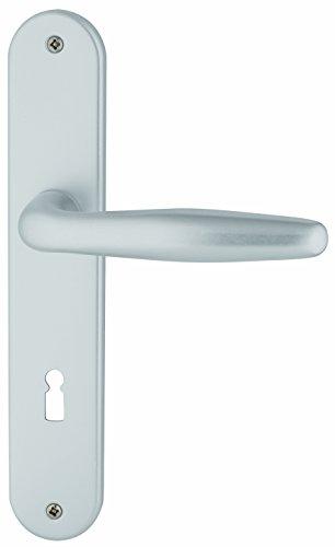 Alpertec 40362000PO Aluminium Ray II-LS Langschildgarnitur für Zimmertüren in Silber eloxiert BB 72 MM Drückergarnitur Türdrücker Türbeschläge Neu