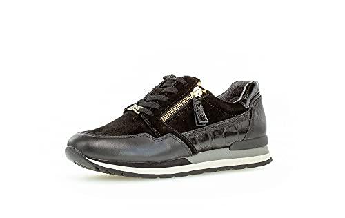 Gabor Mujer Zapatillas, señora Bajo,Plantilla Desmontable,Zapato Deportivo,Plataforma de la Suela,Zapato bajo,Negro (Schwarz (Y/Gold)),40 EU / 6.5 UK
