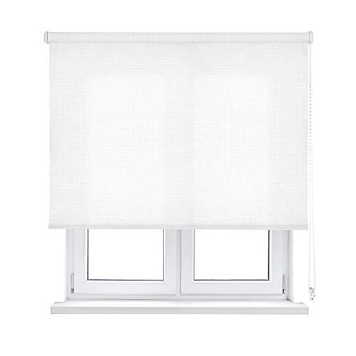 KAATEN Estor Enrollable translúcido-Shantung, Blanco, 180x190